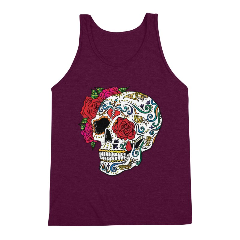 Heartbreak Sugar Skull Men's Triblend Tank by Haciendo Designs's Artist Shop