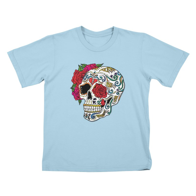 Heartbreak Sugar Skull Kids T-Shirt by Haciendo Designs's Artist Shop