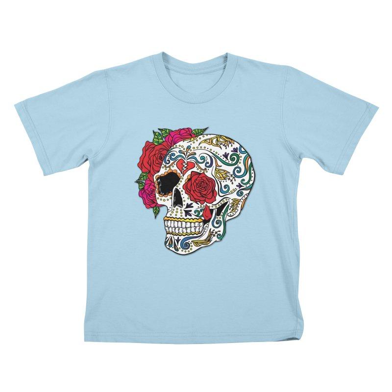 Heartbreak Sugar Skull Kids T-Shirt by Haciendo Designs's Artist Shop