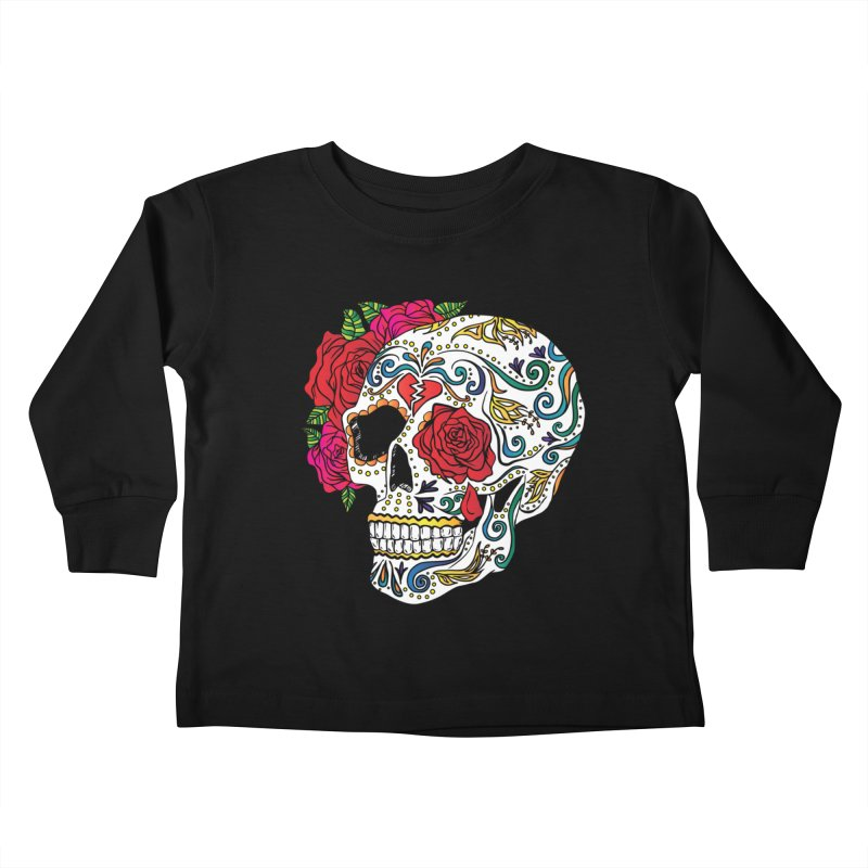 Heartbreak Sugar Skull Kids Toddler Longsleeve T-Shirt by Haciendo Designs's Artist Shop