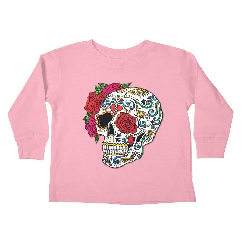 Heartbreak Sugar Skull Kids Toddler Longsleeve T-Shirt by Haciendo Designs's Artist Shop