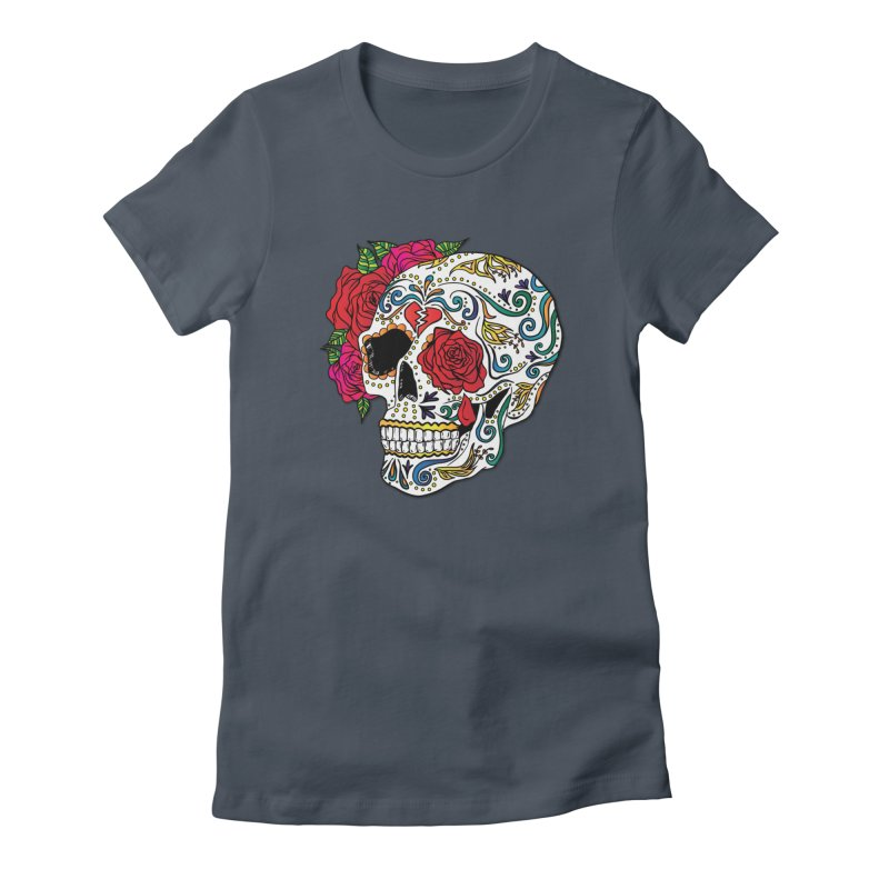 Heartbreak Sugar Skull Women's French Terry Zip-Up Hoody by Haciendo Designs's Artist Shop