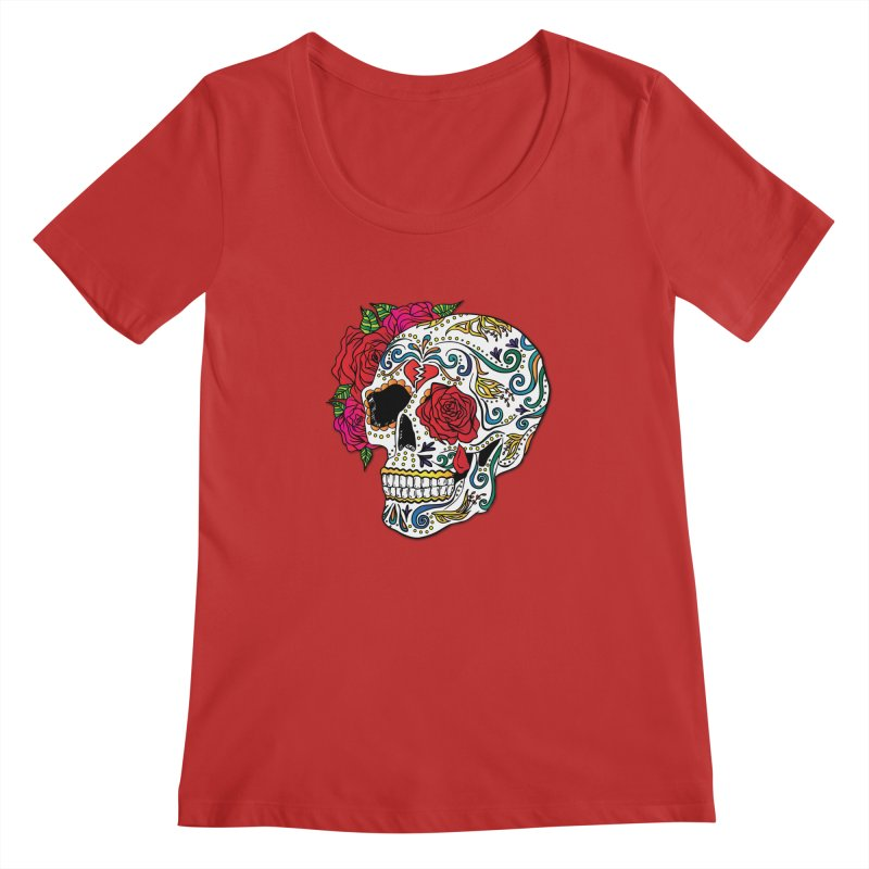 Heartbreak Sugar Skull Women's Scoopneck by Haciendo Designs's Artist Shop