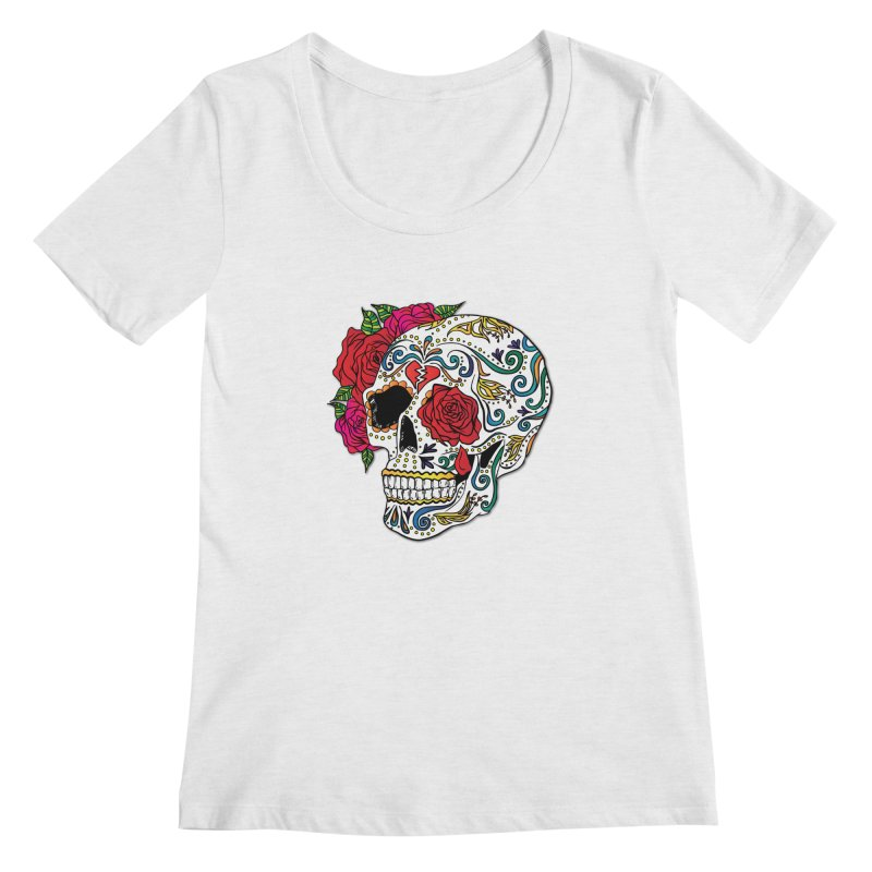 Heartbreak Sugar Skull Women's Regular Scoop Neck by Haciendo Designs's Artist Shop