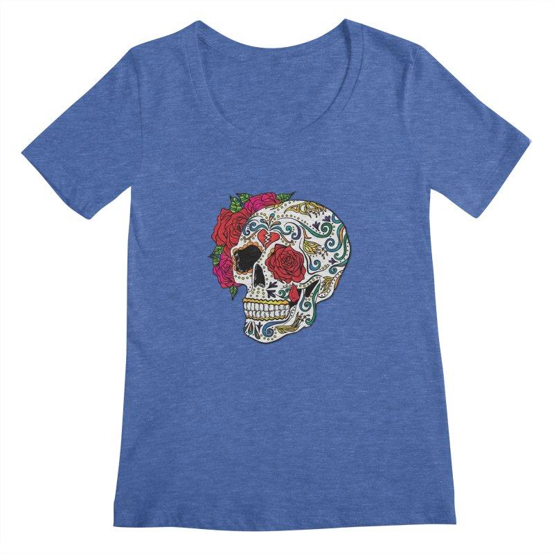 Heartbreak Sugar Skull Women's Regular Scoop Neck by Haciendo Designs's Artist Shop