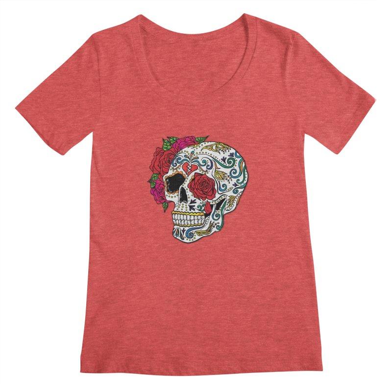 Heartbreak Sugar Skull Women's Scoopneck by Haciendo Designs's Artist Shop