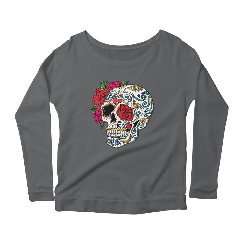 Heartbreak Sugar Skull Women's Longsleeve Scoopneck  by Haciendo Designs's Artist Shop