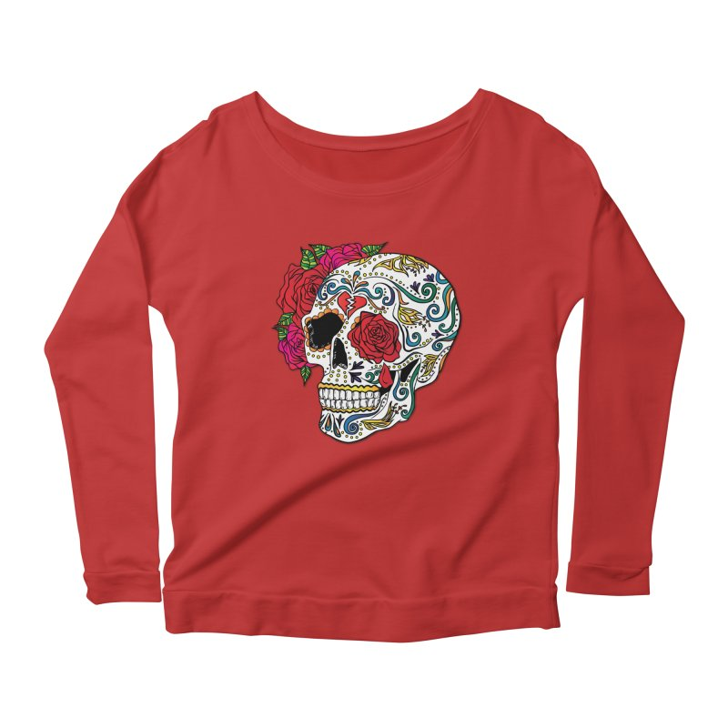 Heartbreak Sugar Skull Women's Scoop Neck Longsleeve T-Shirt by Haciendo Designs's Artist Shop