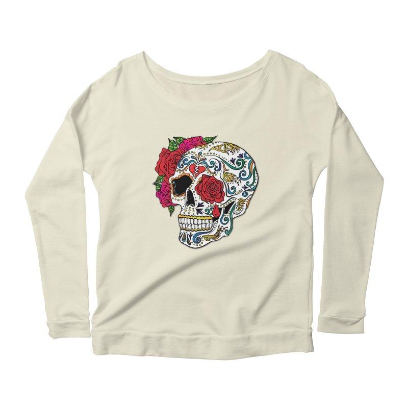 Heartbreak Sugar Skull Women's Scoop Neck Longsleeve T-Shirt by Haciendo Designs's Artist Shop