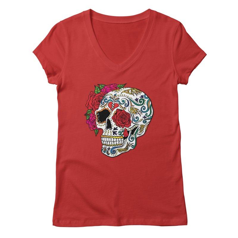 Heartbreak Sugar Skull Women's V-Neck by Haciendo Designs's Artist Shop