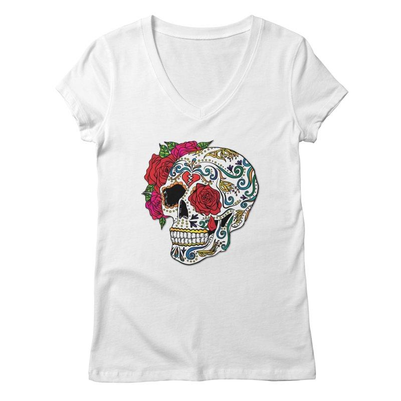 Heartbreak Sugar Skull Women's Regular V-Neck by Haciendo Designs's Artist Shop
