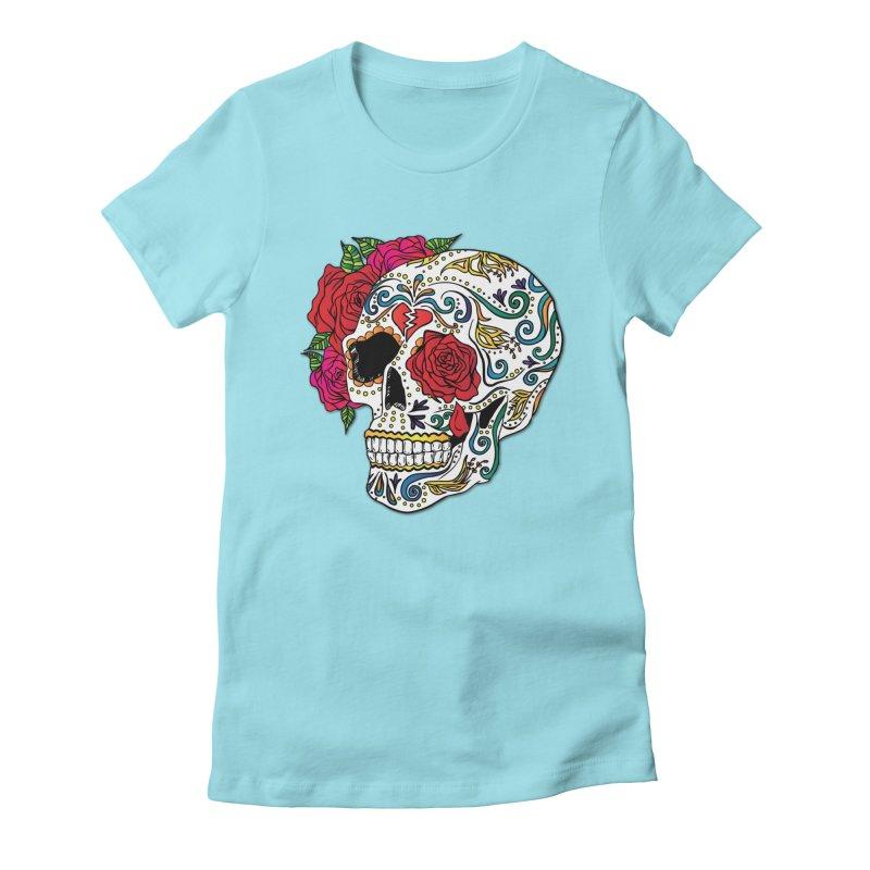 Heartbreak Sugar Skull Women's Fitted T-Shirt by Haciendo Designs's Artist Shop