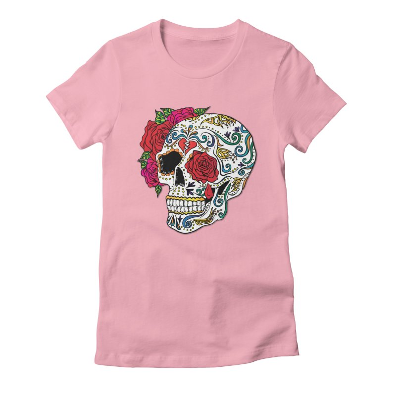 Heartbreak Sugar Skull Women's Fitted T-Shirt by Haciendo Designs's Artist Shop