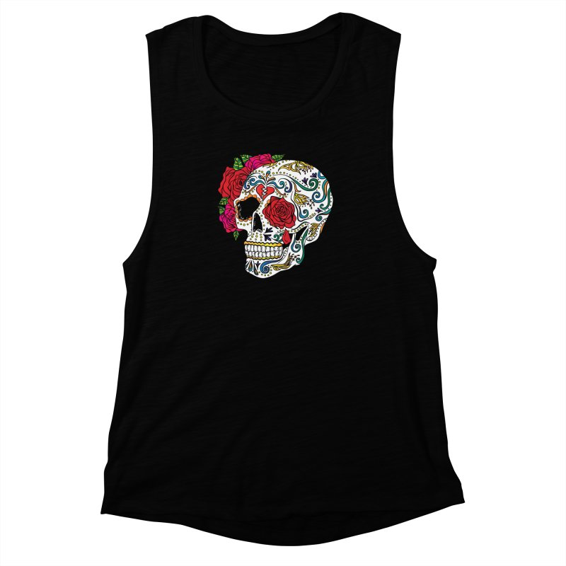 Heartbreak Sugar Skull Women's Muscle Tank by Haciendo Designs's Artist Shop