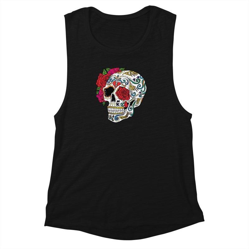 Heartbreak Sugar Skull Women's Muscle Tank by Haciendo Designs's Artist Shop