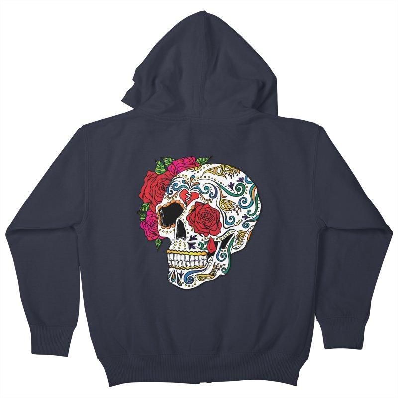 Heartbreak Sugar Skull Kids Zip-Up Hoody by Haciendo Designs's Artist Shop