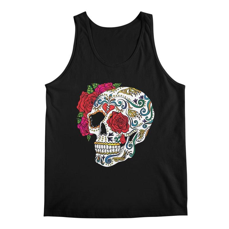 Heartbreak Sugar Skull Men's Regular Tank by Haciendo Designs's Artist Shop