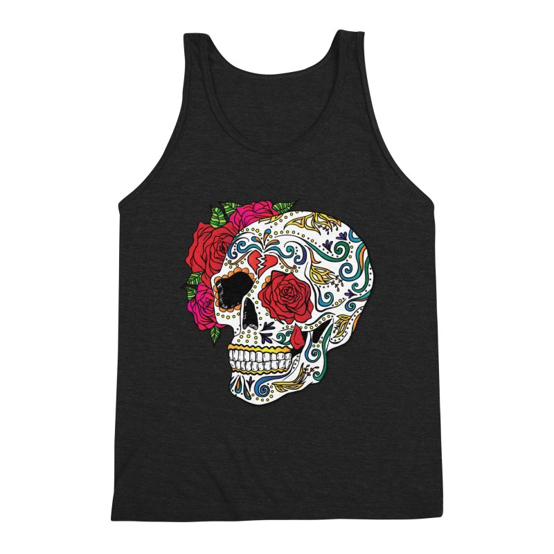 Heartbreak Sugar Skull Men's Triblend Tank by Haciendo Designs's Artist Shop