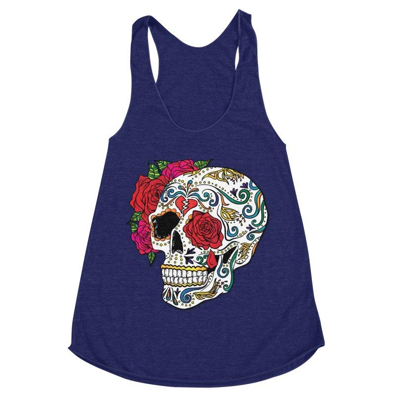 Heartbreak Sugar Skull Women's Racerback Triblend Tank by Haciendo Designs's Artist Shop