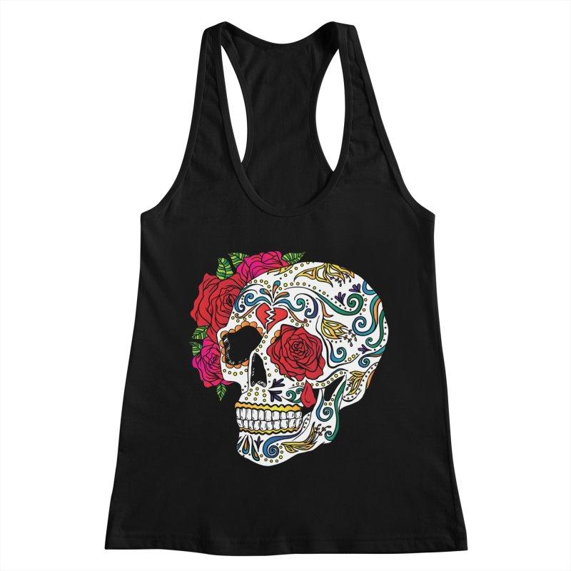 Heartbreak Sugar Skull Women's Racerback Tank by Haciendo Designs's Artist Shop