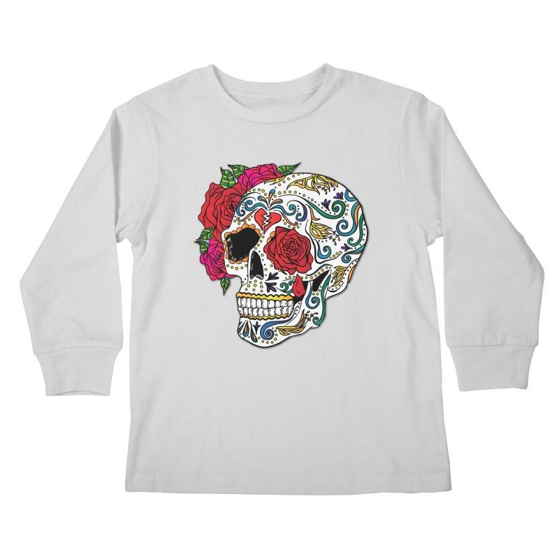 Heartbreak Sugar Skull Kids Longsleeve T-Shirt by Haciendo Designs's Artist Shop