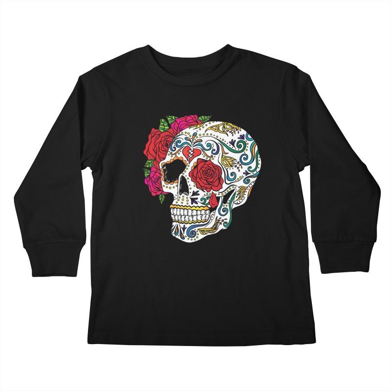 Heartbreak Sugar Skull Kids Longsleeve T-Shirt by Haciendo Designs's Artist Shop