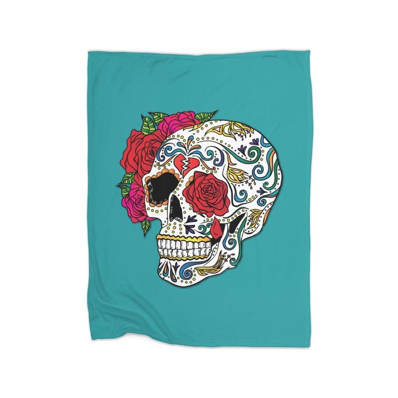 Heartbreak Sugar Skull Home Fleece Blanket Blanket by Haciendo Designs's Artist Shop