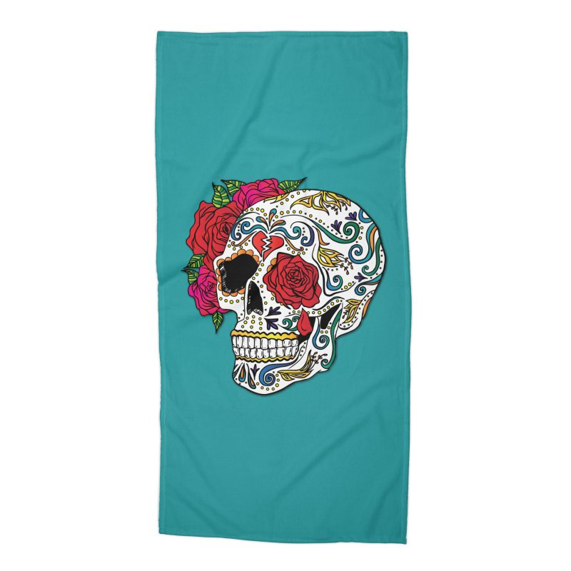 Heartbreak Sugar Skull Accessories Beach Towel by Haciendo Designs's Artist Shop