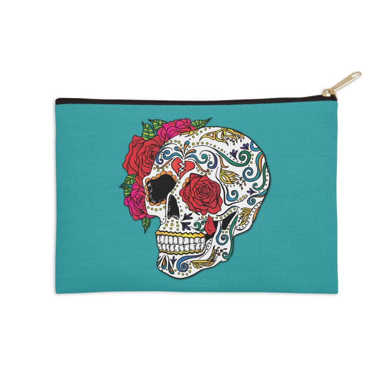 Heartbreak Sugar Skull Accessories Zip Pouch by Haciendo Designs's Artist Shop
