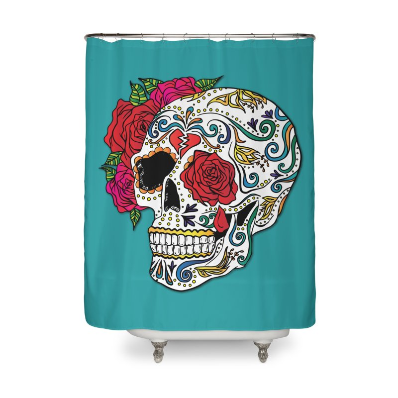 Heartbreak Sugar Skull Home Shower Curtain by Haciendo Designs's Artist Shop