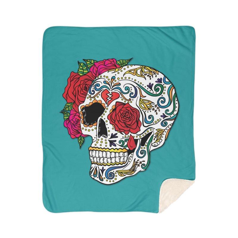 Heartbreak Sugar Skull Home Sherpa Blanket Blanket by Haciendo Designs's Artist Shop