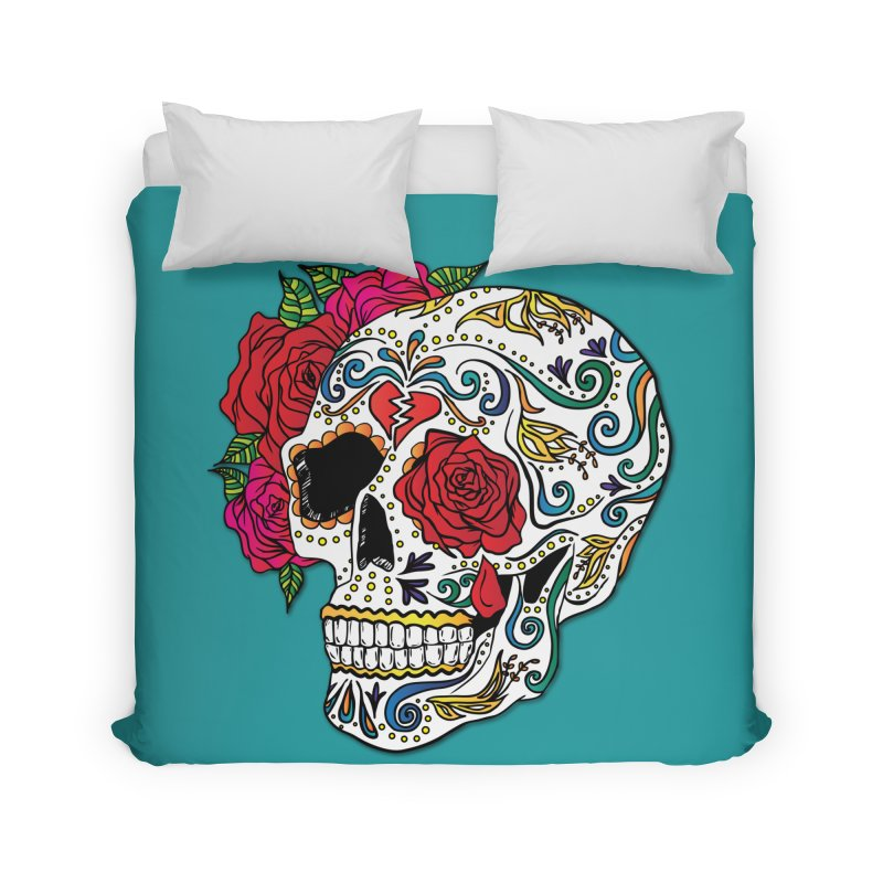 Heartbreak Sugar Skull Home Duvet by Haciendo Designs's Artist Shop