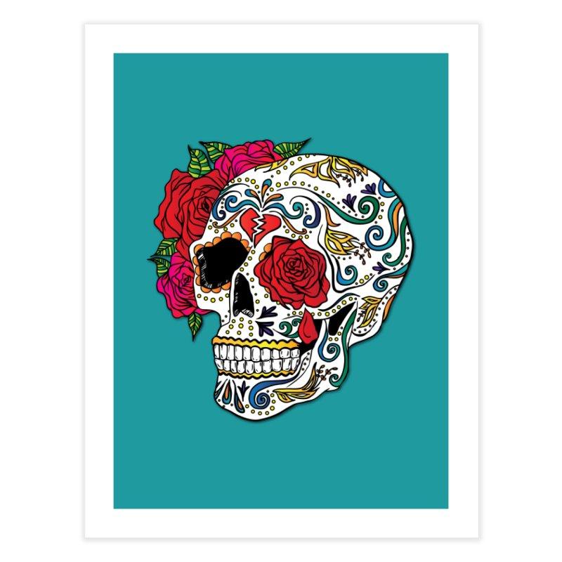 Heartbreak Sugar Skull Home Fine Art Print by Haciendo Designs's Artist Shop