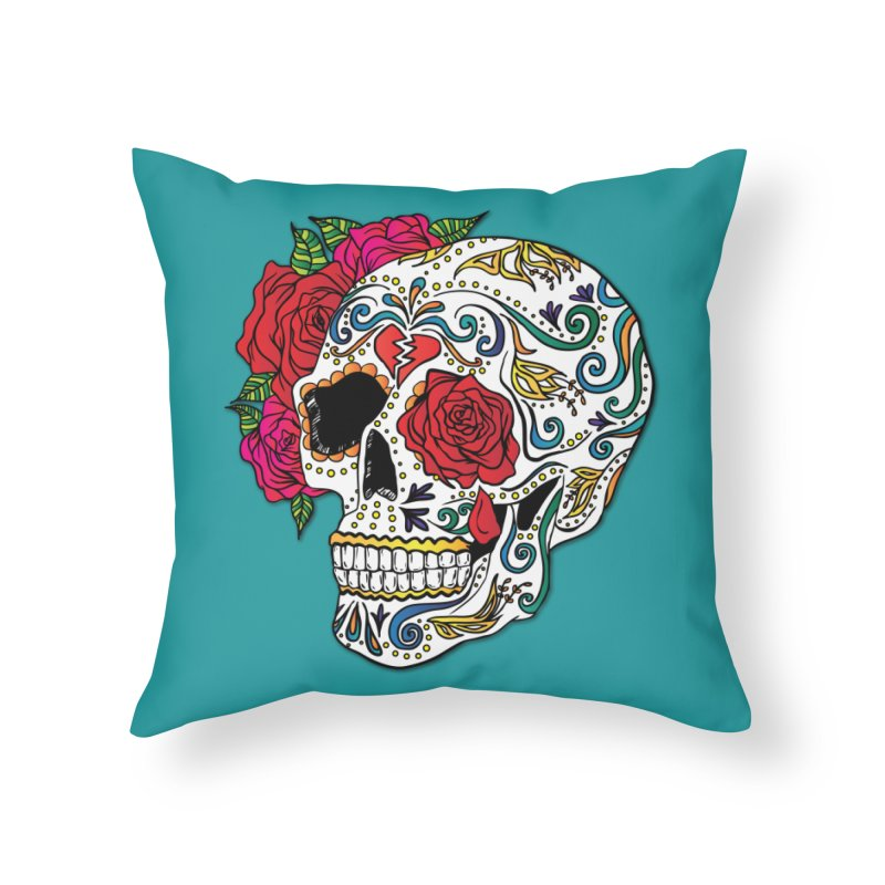 Heartbreak Sugar Skull Home Throw Pillow by Haciendo Designs's Artist Shop