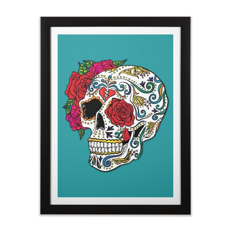 Heartbreak Sugar Skull Home Framed Fine Art Print by Haciendo Designs's Artist Shop