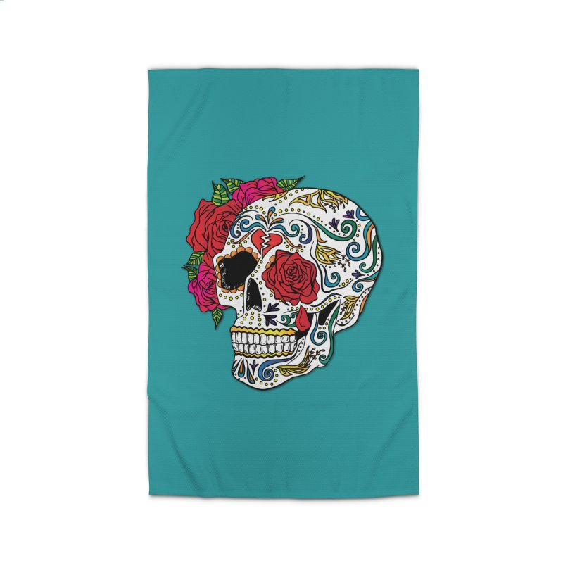 Heartbreak Sugar Skull Home Rug by Haciendo Designs's Artist Shop
