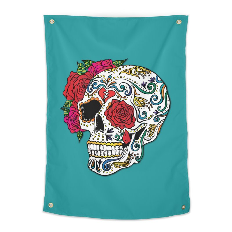 Heartbreak Sugar Skull Home Tapestry by Haciendo Designs's Artist Shop