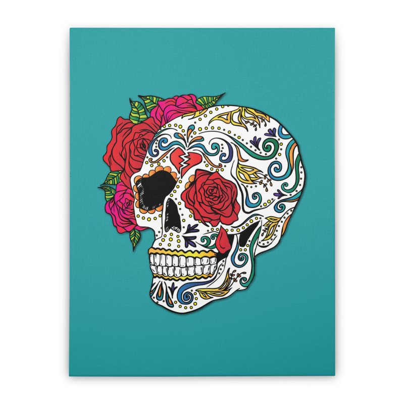 Heartbreak Sugar Skull Home Stretched Canvas by Haciendo Designs's Artist Shop
