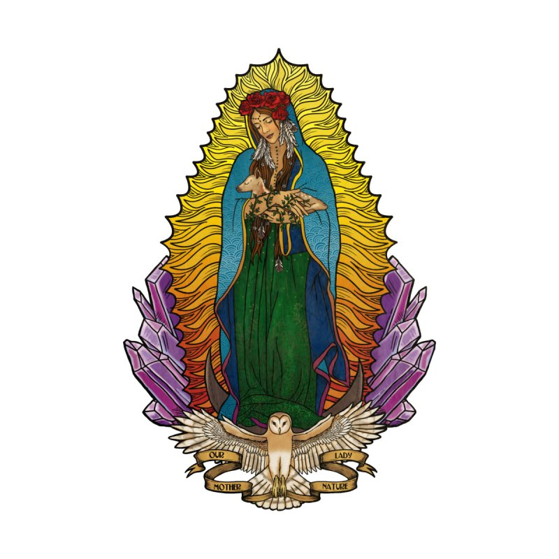 Our Lady Mother Nature Women's V-Neck by Haciendo Designs's Artist Shop