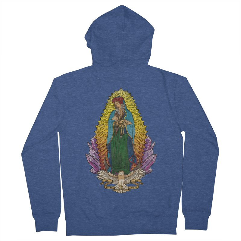 Our Lady Mother Nature Men's French Terry Zip-Up Hoody by Haciendo Designs's Artist Shop