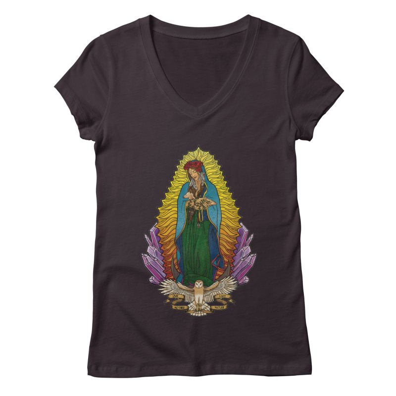 Our Lady Mother Nature Women's Regular V-Neck by Haciendo Designs's Artist Shop