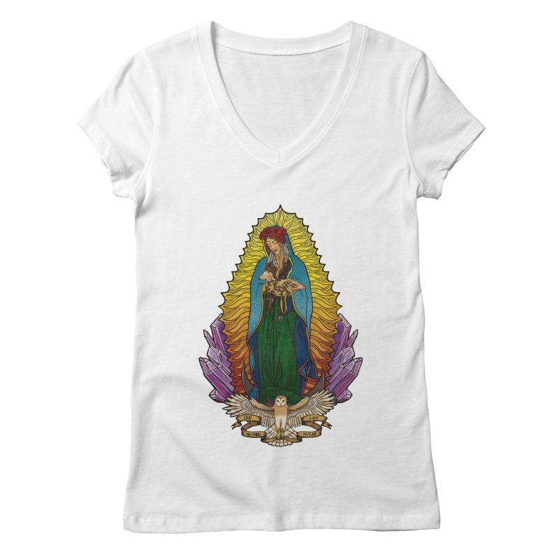 Our Lady Mother Nature Women's Regular V-Neck by Haciendo Designs's Artist Shop