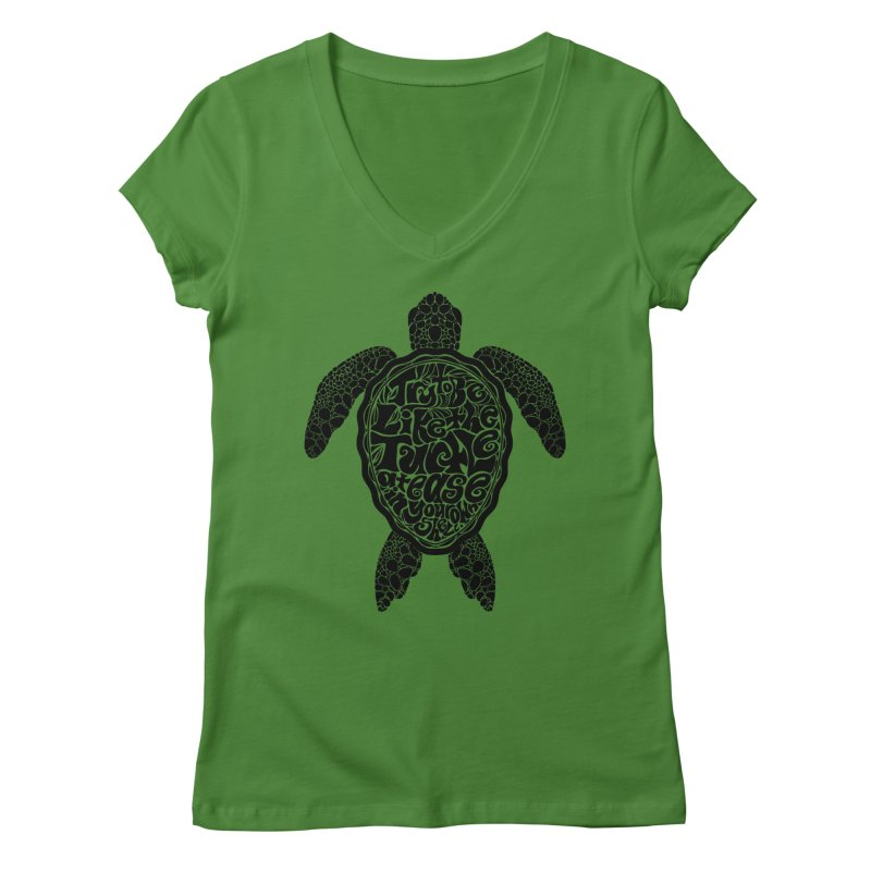 Try To Be Like The Turtle Women's V-Neck by Haciendo Designs's Artist Shop