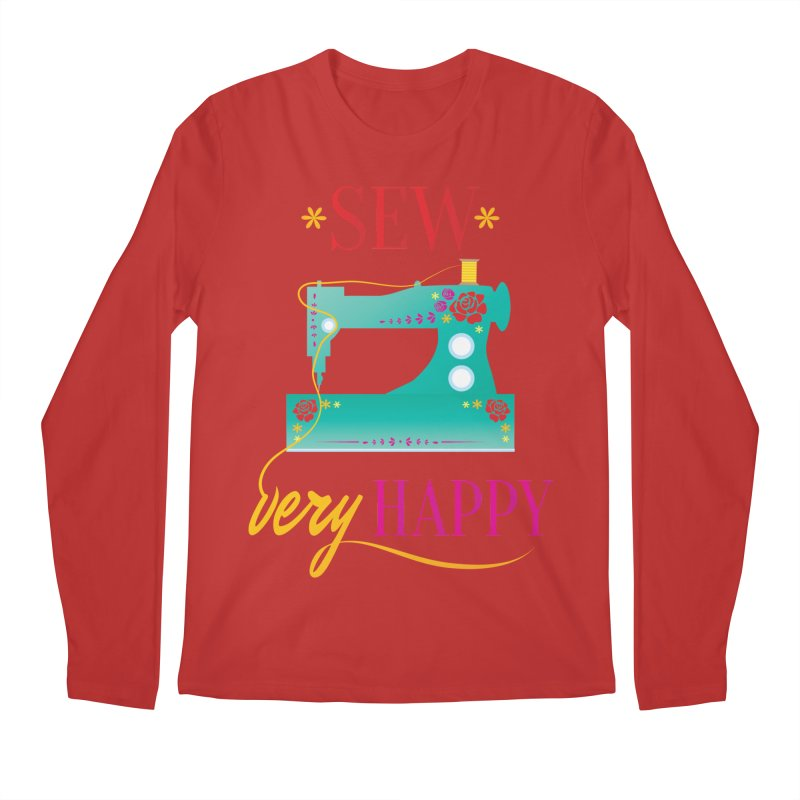 Sew Very Happy Men's Regular Longsleeve T-Shirt by Haciendo Designs's Artist Shop