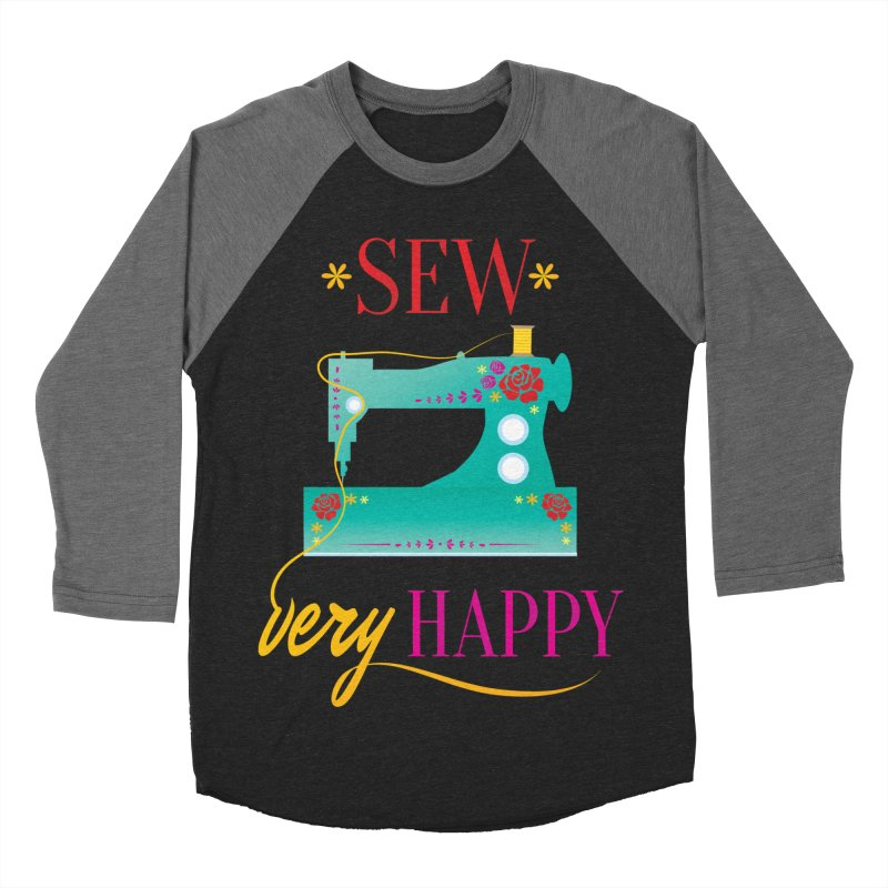 Sew Very Happy Men's Baseball Triblend T-Shirt by Haciendo Designs's Artist Shop