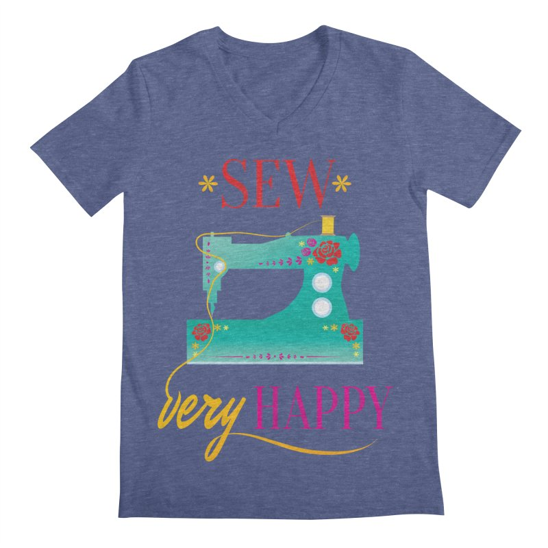Sew Very Happy Men's Regular V-Neck by Haciendo Designs's Artist Shop