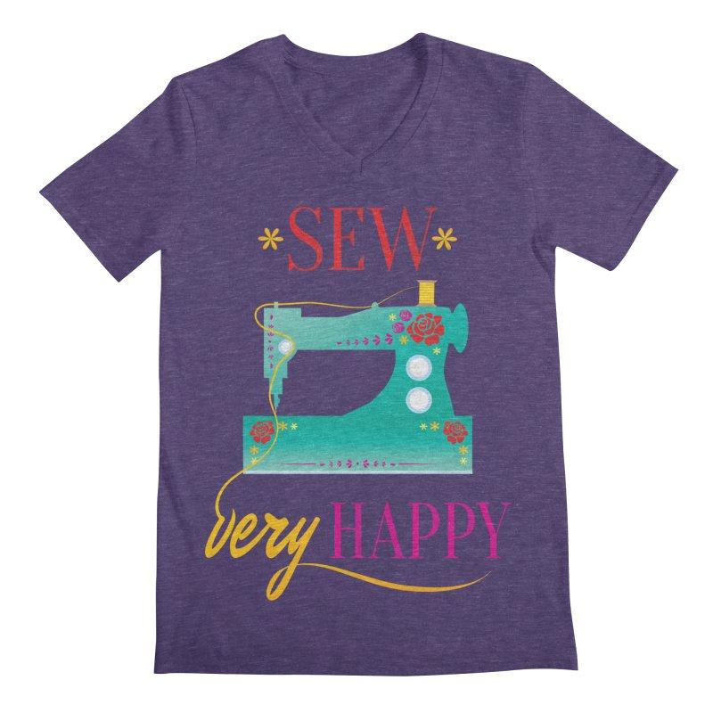 Sew Very Happy Men's V-Neck by Haciendo Designs's Artist Shop