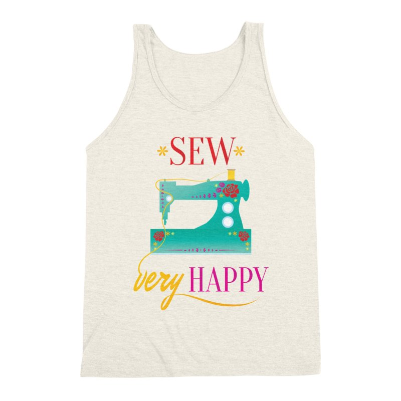 Sew Very Happy Men's Triblend Tank by Haciendo Designs's Artist Shop