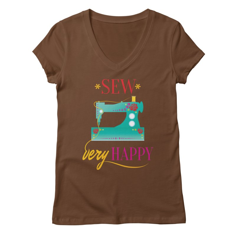 Sew Very Happy Women's Regular V-Neck by Haciendo Designs's Artist Shop