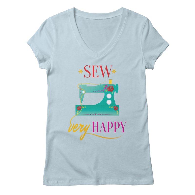 Sew Very Happy Women's V-Neck by Haciendo Designs's Artist Shop